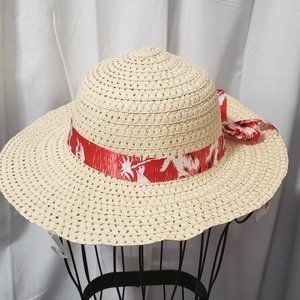 Straw Sun Hat W/ Tropical Flower Print Ribbon NWT